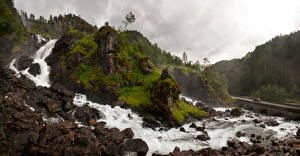 Pictures Norway Mountain Waterfalls Stone River Rock Hordaland Nature