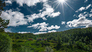 Pictures Norway Sky Clouds Sun Hjelmeland Nature