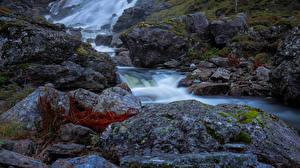 Hintergrundbilder Norwegen Steine Bäche Laubmoose Samnanger