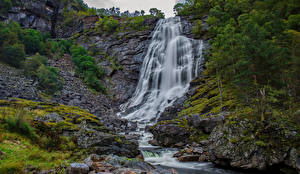 Picture Norway Waterfalls Cliff Eikedalen Nature