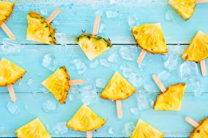 Pictures Pineapples Pieces Ice Food