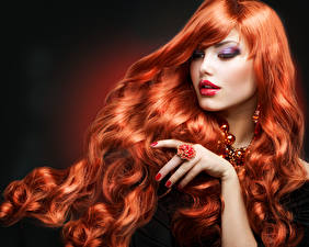 Pictures Redhead girl Hair Makeup Hands Manicure Ring female