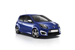 Bakgrundsbilder på skrivbordet Renault Blå Metallisk Vit bakgrund  bil