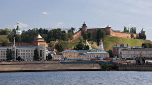 Wallpapers Russia Houses Fortress Rivers Nizhny Novgorod Cities pictures images