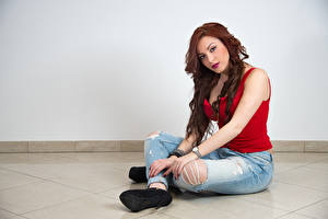 Wallpaper Sit Jeans Hands Glance Redhead girl Samanta female