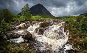 Picture Scotland Mountains Rivers Stones Glen Etive Nature