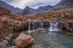 Picture Scotland Mountain Stone Waterfalls Crag Drynoch Nature