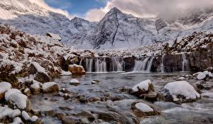 Photo Scotland Mountains Stones Waterfalls Snow Isle of Skye Nature