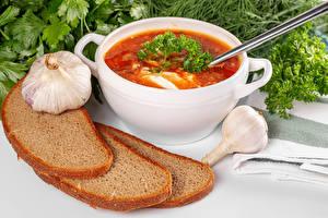Pictures Soups Bread Garlic Borscht Food