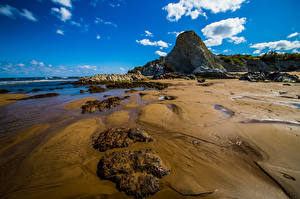Pictures Spain Coast Sea Sky Clouds Rock Sopela Nature