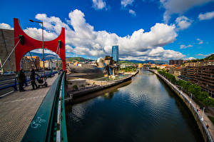 Image Spain Building Bridges River Clouds Bilbao Cities