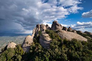 Bilder Spanien Gebirge Felsen Wolke Catalonia Natur