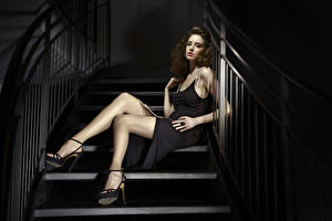 Photo Stairway Brown haired Dress Sit Hands Legs High heels