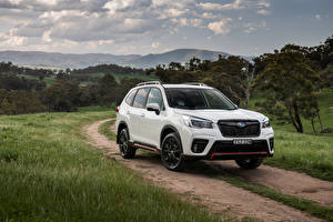 Wallpaper Subaru White Metallic SUV Forester 2.5i Sport, AU-spec, 2020