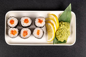 Wallpapers Sushi Lemons wasabi Food pictures images