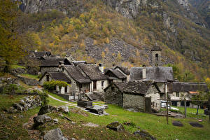 Pictures Switzerland Mountains Autumn Houses Made of stone Bavona Valley Nature