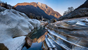 Desktop hintergrundbilder Schweiz Gebirge Kirche Felsen Alpen Lavertezzo Natur
