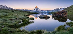 Wallpapers Switzerland Mountain Lake Landscape photography Panorama Alps Stellisee Nature