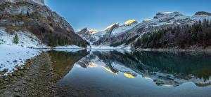 Desktop wallpapers Switzerland Mountain Lake Panorama Alps Snow Seealpsee Nature