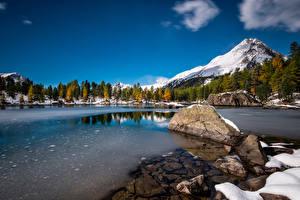 Image Switzerland Mountain Lake Stones Snow Ice Alps Lagh da Saoseo Nature