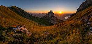 Wallpaper Switzerland Mountains Landscape photography Evening Sunrises and sunsets Alps Canton Schwyz Nature