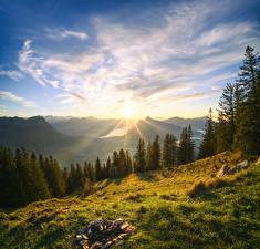 Hintergrundbilder Schweiz Gebirge Landschaftsfotografie Himmel Bäume Wolke Alpen Sonne Grosser Mythen