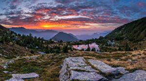 Pictures Switzerland Mountain Landscape photography Sunrise and sunset Lake Alps Ticino Nature