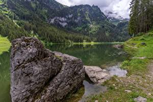 Wallpapers Switzerland Stones Mountains Lake Forests Alps St. Gallen, lake Voralpsee Nature pictures images