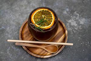 Fotos & Bilder Tee Zitrone Trinkglas Löffel Lebensmittel