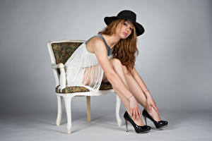 Picture Chairs Sit Frock Hat Legs High heels Glance Modelling Posing Teresita female