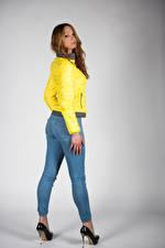 Pictures Posing Jeans Jacket Glance Teresita young woman