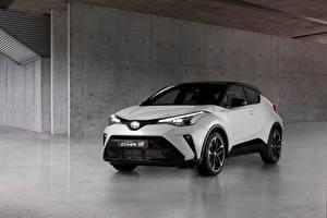 Fondos de escritorio Toyota Crossover Blanco Metálico C-HR Hybrid GR Sport, EU-spec, 2020 autos
