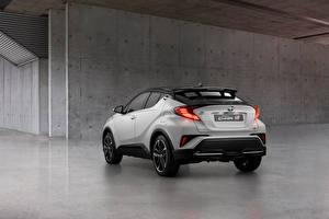 Fondos de escritorio Toyota Crossover Blanco Metálico Vista Trasera C-HR Hybrid GR Sport, EU-spec, 2020