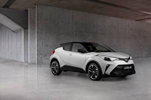 Desktop wallpapers Toyota White Metallic CUV C-HR Hybrid GR Sport, EU-spec, 2020 auto