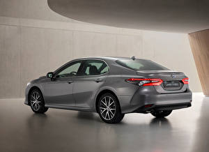 Bureaubladachtergronden Toyota Grijs Metallic Camry Hybrid, EU-spec, 2020 auto's