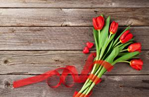Wallpapers Tulips Heart Wood planks Ribbon Template greeting card Flowers pictures images