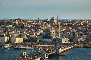 Pictures Turkey Istanbul Mosque Building Bridge