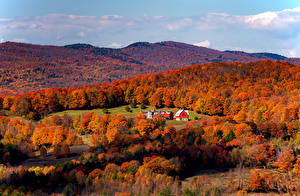Pictures USA Autumn Forests Hill South Woodstock Vermont Nature