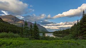 Wallpaper USA Park Mountains Clouds Glacier National Park