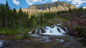 Images USA Park Mountains Waterfalls Rock Trees Glacier National Park Nature