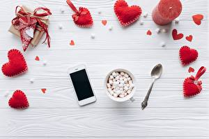 Photo Valentine's Day Heart Marshmallow Smartphones Food