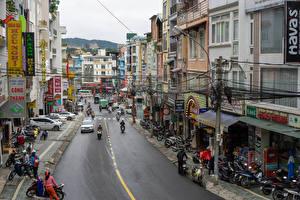 Image Vietnam Houses Roads Street Motorcyclist Dalat Cities