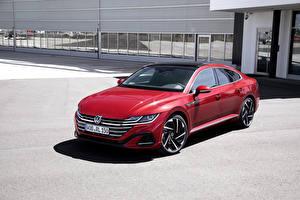 Bakgrundsbilder på skrivbordet Volkswagen Röd 2020 Arteon R-Line Worldwide Bilar