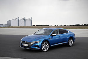 Wallpapers Volkswagen Light Blue Hybrid vehicle 2020 Arteon eHYBRID Elegance Worldwide Cars