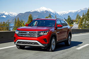 Pictures Volkswagen Red CUV Motion 2020 Atlas Cross Sport SEL Cars