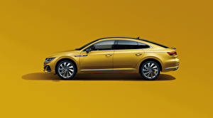 Wallpaper Volkswagen Metallic Side Colored background Yellow CC 380 TSI R-Line, China, 2020 auto