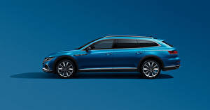 Pictures Volkswagen Side Blue Metallic Colored background Estate car CC Shooting Brake 380 TSI, China, 2020 Cars