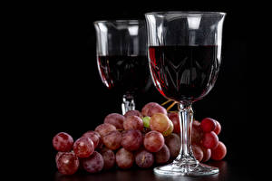 Wallpapers Wine Grapes Black background Stemware Two Food