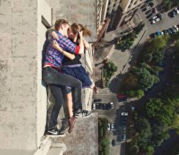 Hintergrundbilder Küssen Umarmen Von oben Jugendlich Alexey Panteleev junge frau