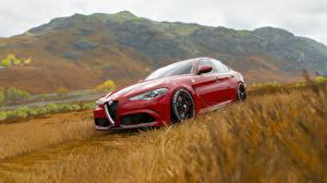 Bakgrunnsbilder Alfa Romeo Forza Horizon 4 Rød giulia Biler
